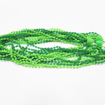 Vintage Green Necklace Plastic Seed Bead Multi Strand