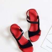 Elastic Band Ankle Wrap Genuine Leather Wedge Sandals 6511