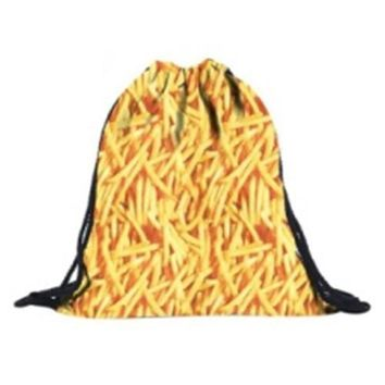 Unisex Backpacks 3D Printing Bags Drawstring Backpack(Yellow fries)39*30cm