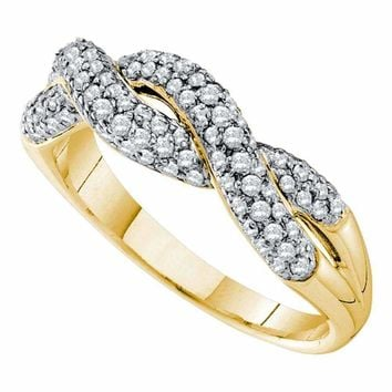 14kt Yellow Gold Women's Round Diamond Woven Twist Crossover Band Ring 1-2 Cttw - FREE Shipping (US/CAN)