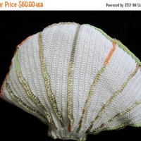 ON SALE - 10% OFF Crochet toy..Oyster scallop pillow...White stuffed soft  sea shell .