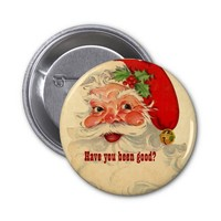 Vintage Smiling Santa Christmas Holiday V12 Pinback Button