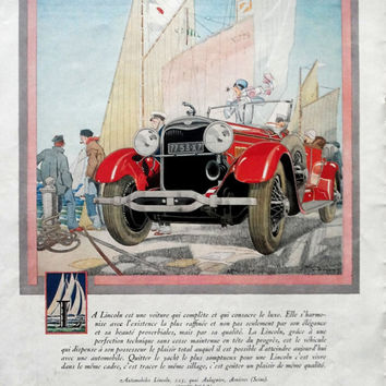 LINCOLN vintage advertising, Delahaye original art deco poster, French magazine page, double sided car poster, automobile advertisement 1928