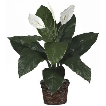 Silk Flowers -Spathyfillum With Coiled Rope Wicker Floor Artificial Plant