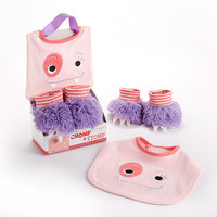 "Baby Aspen ""Chomp & Stomp"" Monster Bib and Booties Gift Set (Girl)"