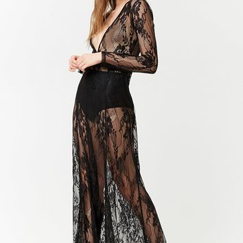 Sheer Lace Plunging Maxi Dress