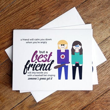 Best Friend blank card - BFF card, friendship thank you card
