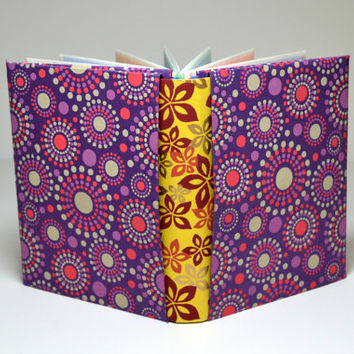 Origami Notebook, Onion Skin Journal, Purple and Yellow Custom Bound Journal, Travelers Notebook, Art Book