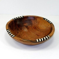 Handmade 7-Inch Olive Wood Dish Dipping Bowl with Inlaid Bone Africa