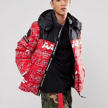 AAPE By A Bathing Ape Padded Jacket With Repeat Logo Print at asos.com