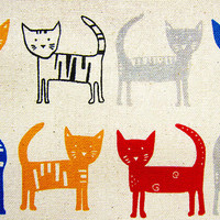 Animal Print Fabric - Cotton Linen Blend Fabric - Rainbow Cats on Natural - Half Yard