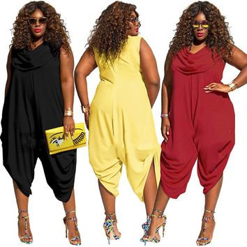 New 2017 SexeMara Super Plus Size Jumpsuit Rompers For Women Solid Sleeveless Summer Overalls XL-5XL 4 Colors LT0116