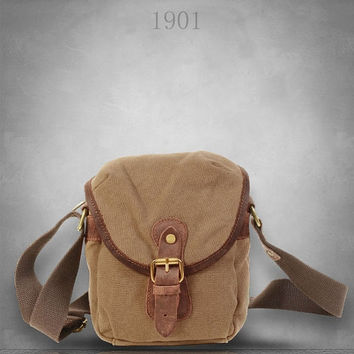 January Sale New Slim Canvas Leather Backpack Bag Cross body bum light weight mini bag for coin cash changes