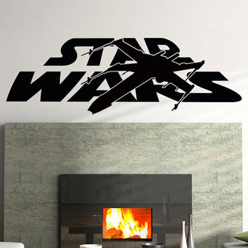 Star Wars Wall Decals X-Wing Wall Decal Vinyl Sticker Xwing Fighter Wall Art Children Kids Nursery Boy Room Bedroom Dorm Home Decor Q090