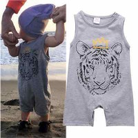 Cotton Newborn Baby Boys Clothes Tiger Printed Baby Rompers Jumpsuit Playsuit Sleeve Summer Baby Boys Rompers 0-24 Months Gray