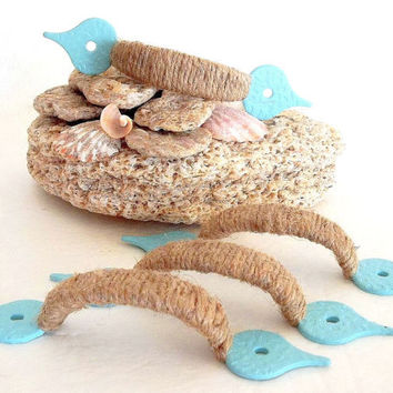 Rope cabinet drawer door pulls handles Jute Nautical furniture pull ONE Coastal Jute pulls Rustic Beach furniture hardware handle knobs blue