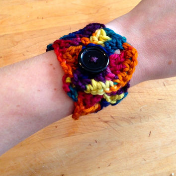 Crochet Jewelry Cuff Bracelet with Button - Bold Colors, Berries, Royal Rainbow - Holiday Gift, Stocking Stuffer, Gifts Under 10