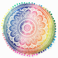 Mandala Pom Pom Floor Pillow