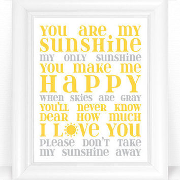 You are My Sunshine Nursery Decor / Art from DaphneGraphics on
