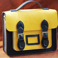 Elite Leather Bags — Handmade Genuine Leather Satchel / Messenger Bag / Backpack - Black with Yellow(l2)