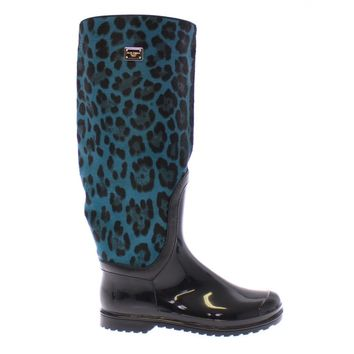 Dolce & Gabbana Black Rubber Blue Leopard Leather Rain Boots
