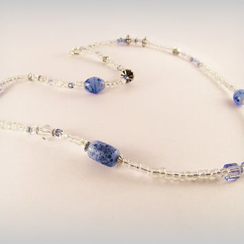 Bohemian necklace - blue, rainbow sheen, opalite and silver - long necklace with toggle clasp