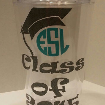 Graduation tumbler,Class of 2015 cup ,Class of 2015 Graduation Tumbler Customized Vinyl Tumbler,High school gift, college grad ,Cap Tumbler