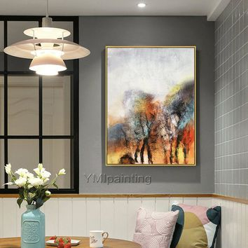 Original Abstract Acrylic Painting On Canvas extra Large Tree Wall Art Pictures for living room Dinning Room cuadros abstractos