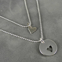 Mother Daughter Heart Necklaces - Sterling, New Mom, Mother's Day