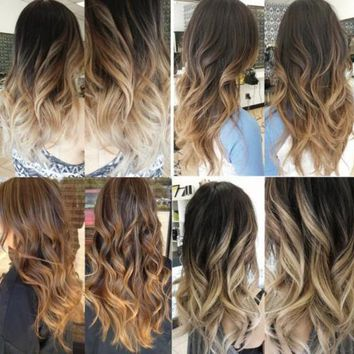 """22"""" One Piece Straight Ombre Clip in Hair Extension 2 Tone natural black blonde"""
