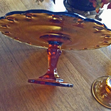 Amber Cake Stand, Pedestal Cake Plate, Mint, Indiana Glass, Rustic Wedding Cake Stand