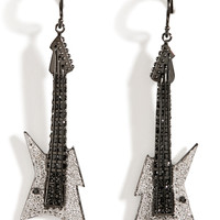 Lynn Ban - Black Rhodium Silver Guitar Earrings B in White