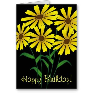 Pretty Yellow Flowers on a Black Background Card