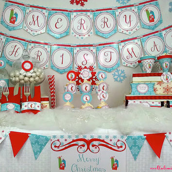 Christmas Party Decoration, Banner, Invitation - Snowflake Holiday Decoration - Winter, Holiday, Party Decor
