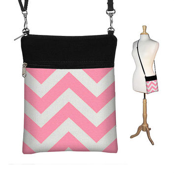SALE Pink Chevron Sling Bag Shoulder Purse Cute Cross Body Bag Small Travel Purse Zipper Fits eReaders white black (RTS)