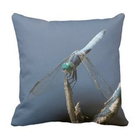 Sky blue dragonfly throw pillow