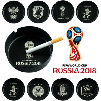 Russia 2018 World Cup LOGO Mascot Sporting Goods Fans Gift Accessory Souvenir Bar Stainless Steel Black Round Metal Ashtray