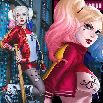 2016 Movie Cosplay Suicide Squad Harley Quinn Costume Set [9124736138]