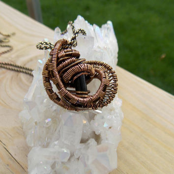 Small Copper Wire Wrapped Pendant with Black Tourmaline Crystal // Heady Wrap