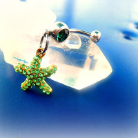 Green Star Fish Belly Ring, Fantasy, Sea, Mermaid, Nautical, Ready to Ship