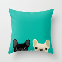 2 French Bulldogs Throw Pillow by Anne Was Here