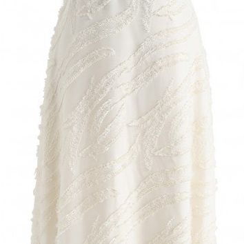 For the Party Tassel A-Line Skirt in Cream