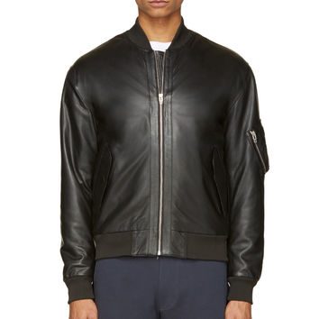 Mcq Alexander Mcqueen Black Leather Bomber Jacket