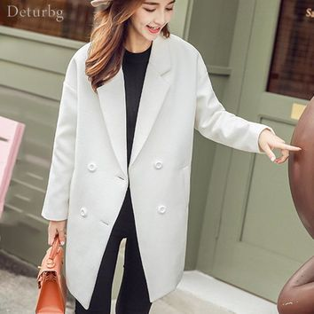 Women's Elegant Double Breasted Woolen Jacket Ladies Casual White Warm Slim Coat Long Overcoat 2017 Winter Brand New WS97