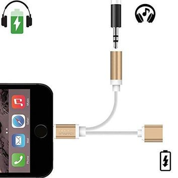 2 in 1 iPhone 7 7Plus & iPhone se 5s 6 6 Plus Lightning to 3.5mm Headphone Jack Adapter Charger and 3.5mm Earphone Jack Cable Adapter AUX +Gift Box