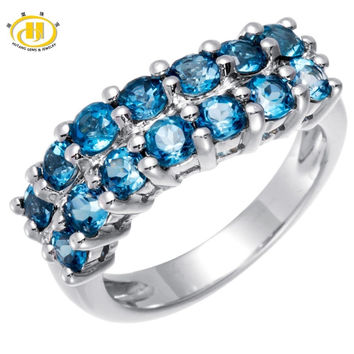 HUTANG GENUINE LONDON BLUE TOPAZ GEMSTONE SOLID 925 STERLING SILVER CLUSTER RING FINE JEWELRY