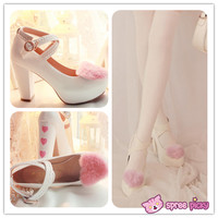 Lolita Hearts Embroidered White Heels with Sweet Pink Fur Platform Shoes SP151691