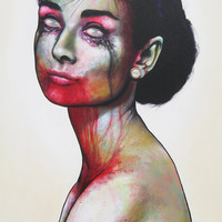 deviantART Shop Framed Wall Art Prints & Canvas | Traditional Art | Paintings | Zombie Audrey Hepburn by artist ~GraysonCastro