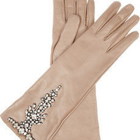 Valentino | Crystal-embellished leather gloves | NET-A-PORTER.COM