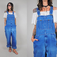 Worn-in 1970's denim OVERALLS Utility dungarees Bibs Workwear Faded oversized boyfriend